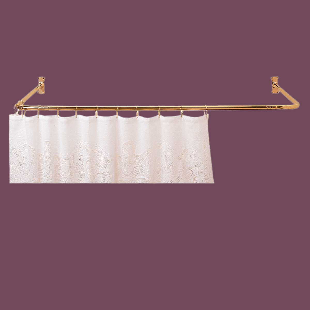 Delightful U003cPREu003eShower Curtain Rod Bright Solid Brass 3 Sided ...