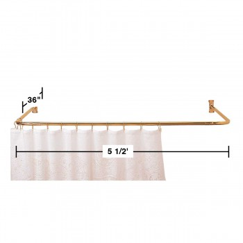 spec-<PRE>Shower Curtain Rod Bright Solid Brass 3 Sided </PRE>