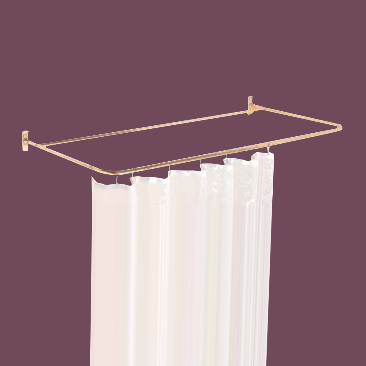Shower Curtain Rod Bright Solid Brass 4 Sided