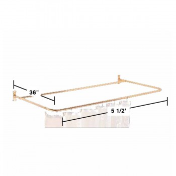 spec-<PRE>Shower Curtain Rod Bright Solid Brass 4 Sided </PRE>