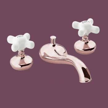 spec-<PRE>Tub Faucet Heavy Brass Porcelain Cross Handles Deck Mount</PRE>