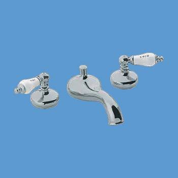 Roma Deckmount Tub Faucet Chrome & Porcelain Levers - Tub faucets, Tub faucet info & unique accessories, quantity discounts on all Tub faucets, brass Tub faucets, chrome Tub faucets, hand-held showers, riser showers, Bath Grab Bars, bathroom fixtures,tub faucets & free shipping by Renovator's Supply.