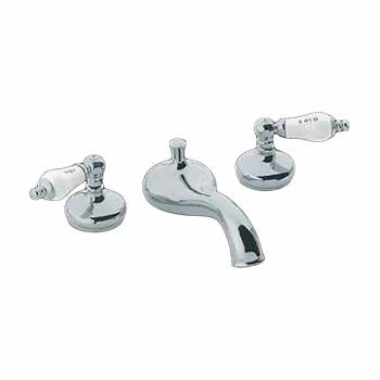 Tub Faucet Heavy Chrome Porcelain Lever Handles Deck Mount 97269grid