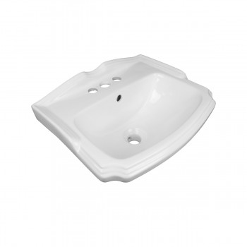 Small Wall Mount Bathroom Sink White with Overflow Centerset Holes and Brackets97332grid