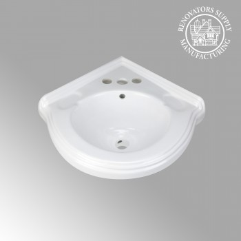 Portsmouth White Corner Vessel Sink - Corner sinks, corner sink info & unique corner accessories, quantity discounts on corner toilets, corner pedestal sinks, corner wall mount sinks, corner console sinks, counter top corner sinks, corner counter top sinks, glass corner pedestal sinks, corner cabinets, corner bathroom fixtures, corner bathroom sinks, corner sink faucets & free shipping by Renovator's Supply.