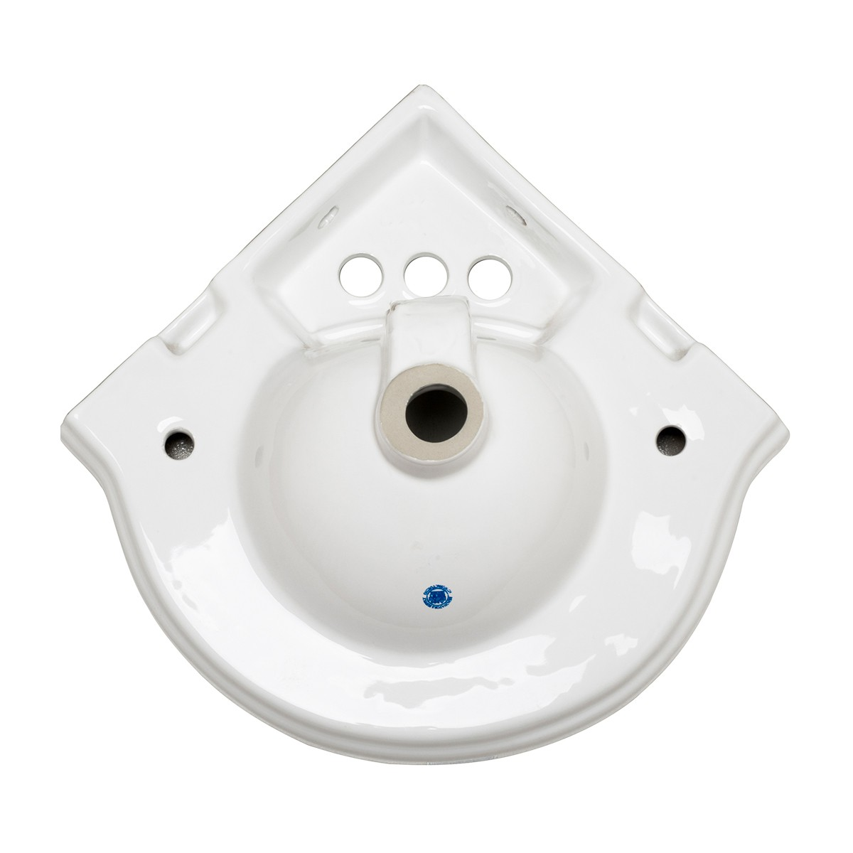 Renovators Supply Corner Bathroom Wall Mount Sink White With 4 Centerset Space Saving Small Tiny Petite Antique Colonial Traditional Modern White Corner Wall Mount Hung Hanging Bathroom