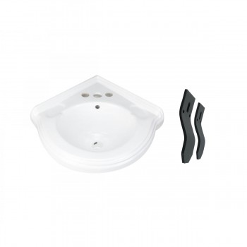Corner Wall Mount Sink White Classy Design Basin Overflow and Centerset Holes