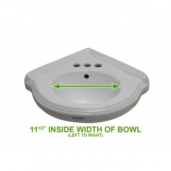 "spec-<PRE>Renovators Supply Corner Bathroom Wall Mount Sink White With 4"" Centerset</PRE>"