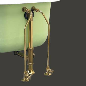 Water Supply Lines - Clawfoot Tub Supply Lines Brass with  Cross Handles Gold PVD finish by the Renovator's Supply