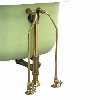 Clawfoot Tub Supply Lines Brass w/ Cross Handles Gold PVD finish