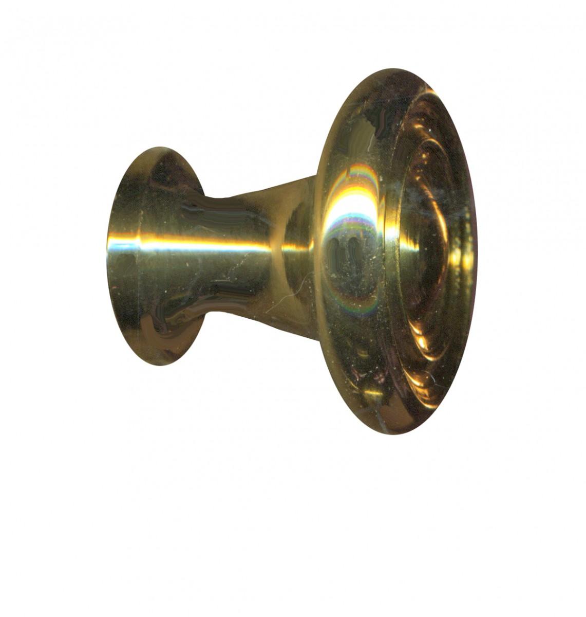 cabinet knob bright solid brass spooled 1 dia. Black Bedroom Furniture Sets. Home Design Ideas