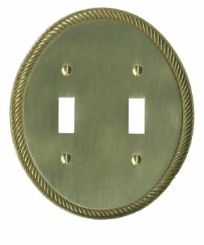 Double Toggle Switch Plate Bright Brass Oval Roped