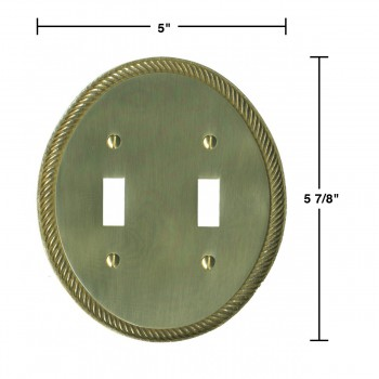 spec-<PRE>Solid Brass Switchplate Double Toggle Oval Braided </PRE>