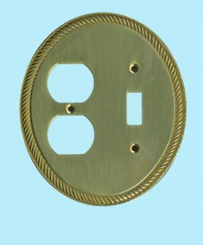 Solid Brass ToggleOutlet Switch Plate Cover Oval Braided Switch Plate Wall Plates light switch plate