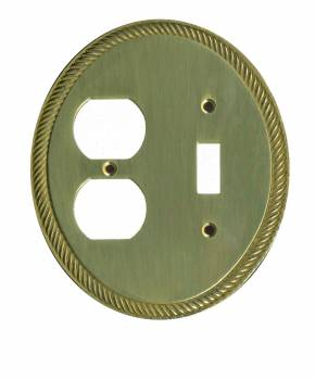 Bright Solid Brass Oval Braided Toggle/Outlet wall plate