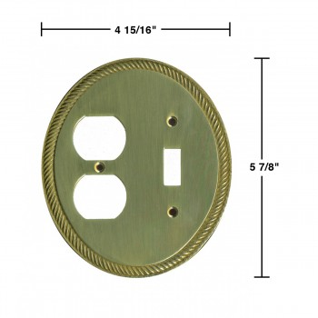 spec-<PRE>Solid Brass Toggle/Outlet Switch Plate Cover Oval Braided</PRE>