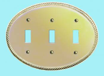 <PRE>Solid Brass Triple Toggle Switchplate Oval Braided </PRE>zoom2
