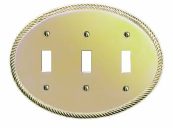 Switchplates Solid Brass Oval Braided Triple Toggle Switch Plate