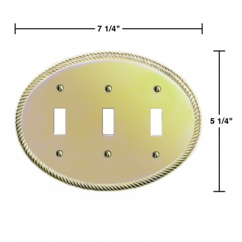 spec-<PRE>Solid Brass Triple Toggle Switchplate Oval Braided </PRE>