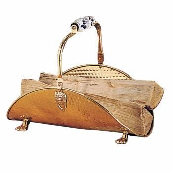 Vintage Small Fireplace Log Holder Wood Basket Solid Brass