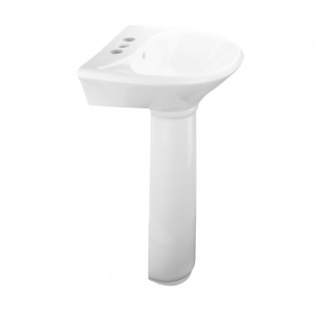 Renovators Supply White Small Pedestal Sink with 4 Faucet,Sink Drain and PTrap Cute Elegant Fancy Small Petite Narrow Space Saving Bathroom Pedestal Sink Centerset Faucet