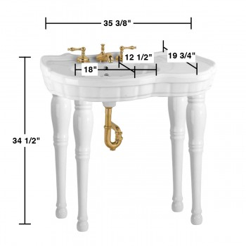 spec-<PRE>White Console Wall Mount Sink 4 Spindle Legs with Faucet,Drain & PTrap</PRE>