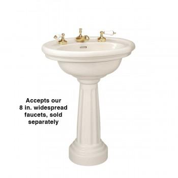 "spec-<PRE>Bone Pedestal Sink Philadelphia Oval with 8"" Faucet, Drain and P-Trap</PRE>"