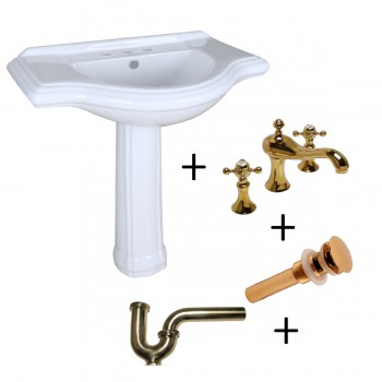 White Porcelain Large Pedestal Sink with Faucet, Drain and P Trap97894grid