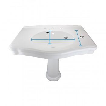 "spec-<PRE>White Pedestal Sink with 8"" Widespread Faucet, Drain and P-Trap</PRE>"