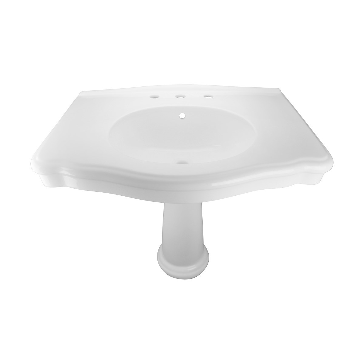 White Pedestal Sink with 8 Widespread Faucet, Drain and PTrap Widespread Pedestal Sink Modern Bathroom Pedestal Sink Classic Bathroom Sinks