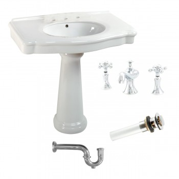 White Pedestal Sink with 8