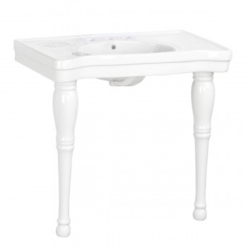 White Porcelain Console Sink with Hardwood Leg, Faucet, Drain and P Trap Glossy Console Bathroom Sink Console Sink With Spindle Legs Console Sinks For Small Bathrooms