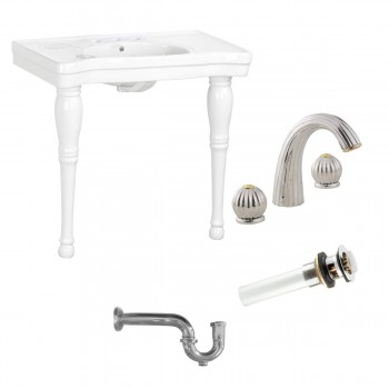 White Porcelain Console Sink with Hardwood Leg, Faucet, Drain & P Trap97906grid