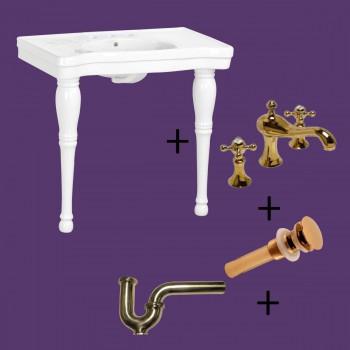 <PRE>Console Sink White Porcelain with Hardwood Leg, Faucet, Drain & P Trap</PRE>zoom2