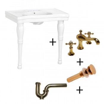 <PRE>Console Sink White Porcelain with Hardwood Leg, Faucet, Drain & P Trap</PRE>zoom1