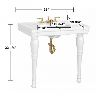 spec-<PRE>Console Sink White Porcelain with Hardwood Leg, Faucet, Drain & P Trap</PRE>