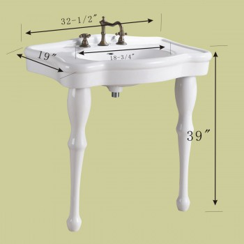 spec-<PRE>White Console Sink China Two Spindle Legs with Faucet, Drain & P-Trap</PRE>