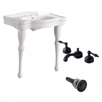 White Console Sink Porcelain Two Spindle Legs with Black 8'' Faucet97913grid
