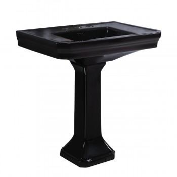 <PRE>Black Large Pedestal Sink Victorian, Widespread Faucet, Drain & P-Trap Included</PRE>zoom3