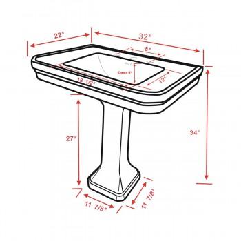 spec-<PRE>Black Large Pedestal Sink Victorian, Widespread Faucet, Drain & P-Trap Included</PRE>