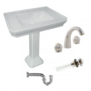 White Large China Victorian Pedestal Sink with Faucet, Drain & P-trap included97922grid