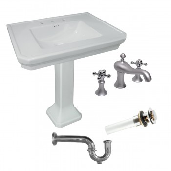 White Vitreous China Victorian Large Pedestal Sink with Faucet, Drain & P-trap97924grid