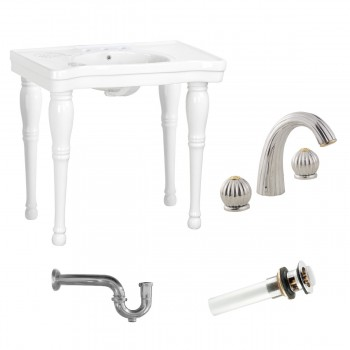 White Console Sink Belle Epoque 4 Spindle legs97926grid