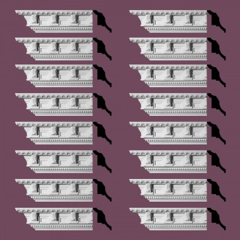 "spec-<PRE>Renovator's Supply Ornate Cornice White Urethane Edinburgh Design 16 Pieces Totaling 1520"" Length</PRE>"