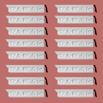 <PRE>Renovator's Supply Ornate Cornice White Urethane Cannes Design 16 Pieces Totaling 1504inch Length</PRE>zoom2