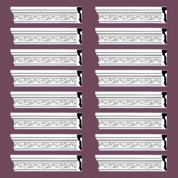 Renovators Supply Crown Molding White Urethane Savanah Design 16 Pieces Totaling 1504 Length White PrePrimed Urethane Crown Cornice Molding Cornice Crown Home Depot Ekena Millwork Molding Wall Ceiling Corner Cornice Crown Cove Molding