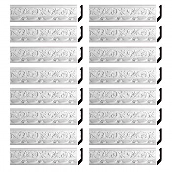 Renovators Supply Cornice White Urethane Letreamont Ornate Design 16 Pieces Totaling 1324 Length White PrePrimed Urethane Crown Cornice Molding Cornice Crown Home Depot Ekena Millwork Molding Wall Ceiling Corner Cornice Crown Cove Molding