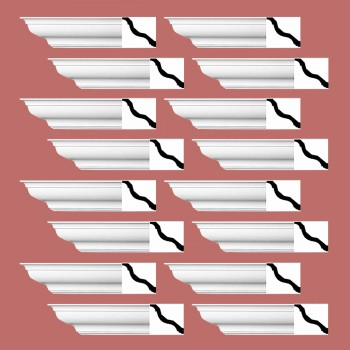 Renovators Supply Cornice White Urethane Kensinton Design 16 Pieces Totaling 1504 Length White PrePrimed Urethane Crown Cornice Molding Cornice Crown Home Depot Ekena Millwork Molding Wall Ceiling Corner Cornice Crown Cove Molding