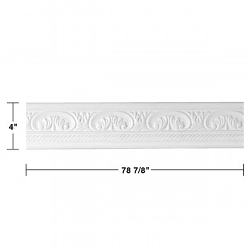 "spec-<PRE>Renovator's Supply Cornice White Urethane Donnegal Ornate Design 12 Pieces Totaling 946.5"" Length</PRE>"