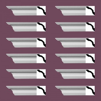 "spec-<PRE> Simple Cornice White Urethane Northbridge Design 12 Pieces Totaling 1152"" Length</PRE>"